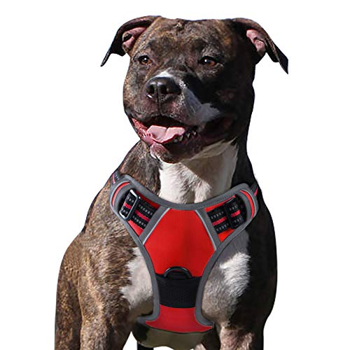 Eagloo Dog Harness No Pull, Walking Pet Harness with 2 Metal Rings and Handle Adjustable Reflective Breathable Oxford Soft Vest Easy Control Front Clip Harness Outdoor for Large Dogs Red
