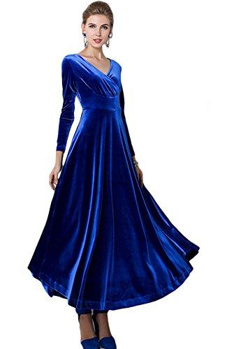 Urbancoco Damen Lange Langarm Abendkleid Maxi V-Ausschnitt Samt Party Kleid (S, königsblau)