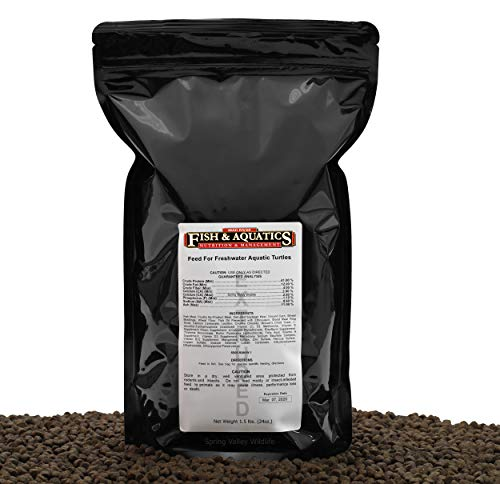 Freshwater Tank & Pond Adult Turtle Food, A Floating(4.8mm), High Protein(41%), High Energy Extruded Diet for Omnivorous and Carnivorous Turtles, 1.5lbs.