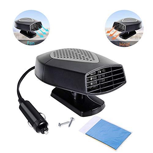 YYYD Fan van de auto, 12 V, draagbaar, ramen, luchtontvochtiger, verwarming en ventilator, 2-in-1, met 180 graden rotatie, sigarettenaansteker