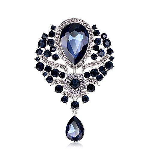 Broches grandes de cristal con forma de gota de agua para mujer, estilo palacio, flores, bodas, fiesta, casual, broches, regalos