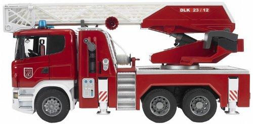 Bruder 03590 - Scania R-Serie Feuerwehrleiterwagen mit Wasserpumpe und Licht und Sound Modul