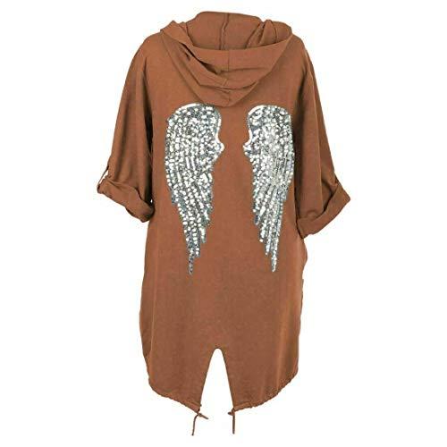 Miss Boho Chic - Chaqueta con capucha para mujer, diseño de alas de ángel con lentejuelas