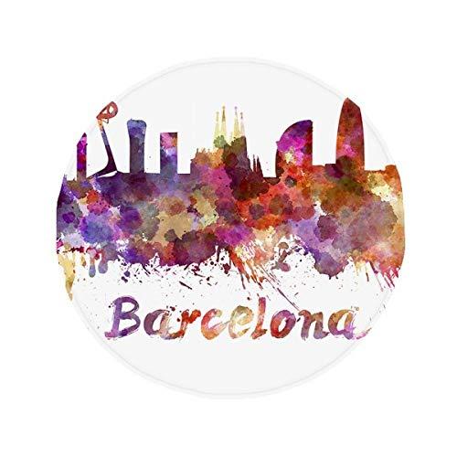 DIYthinker Barcelona, España Ciudad Acuarela Antideslizante Piso Estera del Animal doméstico Ronda Baño Sala Cocina Puerta 60 / 50Cm Regalo 60X60Cm