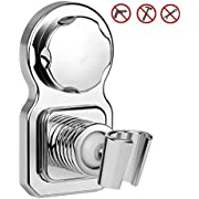 Airsspu Vacuum Suction Cup Shower Head Holder Shower Head Mount Wall Holder Removable Handheld Shower Holder & Bidet Sprayer Holder Shower Head Clip Chrome