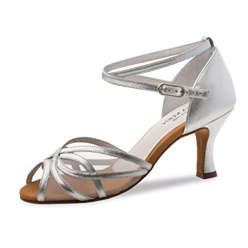 Anna Kern - Damen Tanzschuhe 740-60 - Leder Silber - 6 cm [UK 4.5]