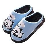 Zapatillas de Estar por Casa para Niñas Niños Otoño Invierno Zapatillas Mujer Hombres Interior Caliente Suave Dibujos Animados Panda Zapatos Azul 35/36 EU = 36/37 CN