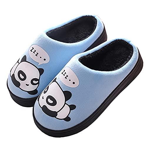 Zapatillas de Estar por Casa para Niñas Niños Otoño Invierno Zapatillas Mujer Hombres Interior Caliente Suave Dibujos Animados Panda Zapatos Azul 27/28 EU = 28/29 CN