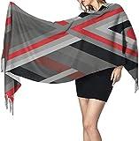 Bufanda de cachemira roja negra ligera chal largo suave cálido chal bufanda elegante para mujer manta para otoño invierno interior al aire libre