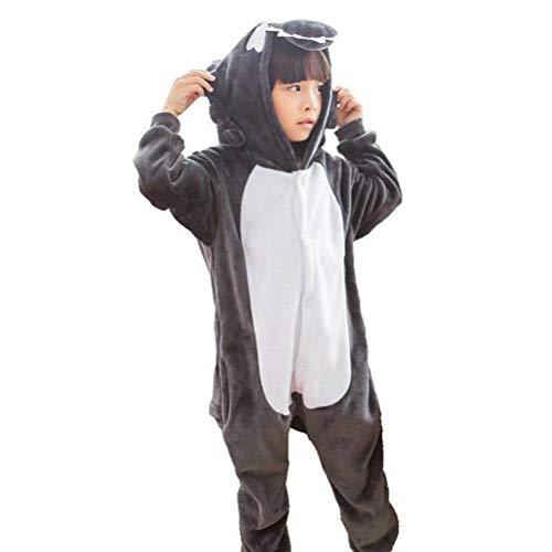 Unisex pyjama's volwassenen dier onesies flanel grijze wolf cartoon dier eendelig pyjama's kinderen ouders kind thuis slaapkleding, justtime 140# zoals afgebeeld