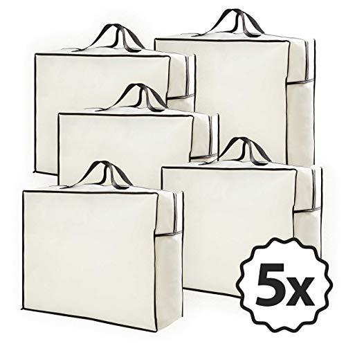 Lumaland 5X Aufbewahrungstaschen für Bettdecken und Kissen - 60 x 50 x 25 cm - Tragetasche für Matratzenauflagen Reißverschluss handliche Tragegriffe