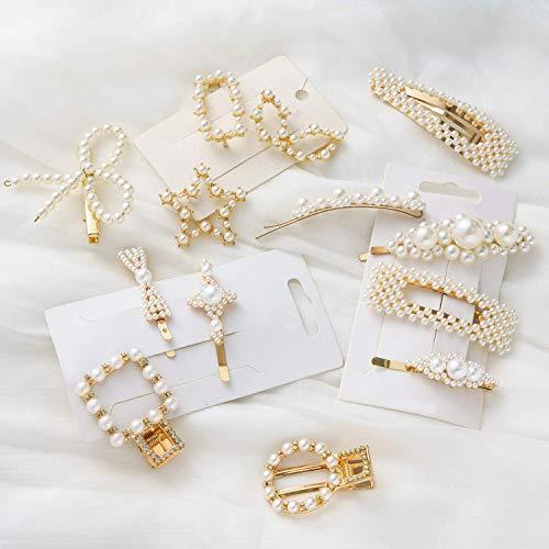 HBselect 15pcs Haarspangen Perlen gold Haarklammern Haarnadeln Haarschmuck für Damen Mädchen