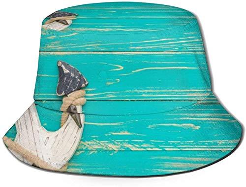 Elefantes Unisex en Viajes africanos Sombrero de Cubo Gorra de Pescador de Verano Sombrero para el Sol-Ancla en Madera Vintage
