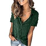 Camisa De Solapa De Verano Blusa De Manga Corta De Color SóLido Delgado De Moda para Mujer