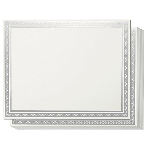 Juvale Certificate Paper with Silver Foil Border (White, 8.5 x 11 in, 50-Pack)