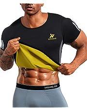 NINGMI Män svettdräkt neopren bastu skjorta fitness midja tränare svett gym topp träning bantning kroppsformare