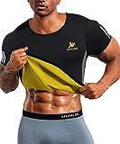 NINGMI Traje Sauna para Hombres - Chaleco Sudor Body Shaper Entrenador Cintura Tank Top Fitness Entrenamiento Chaqueta de Adelgazamiento Manga Corta (Gris, S)