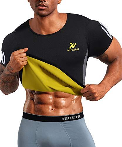 NINGMI Gilet da Sudorazione da Uomo Sauna Neoprene T-Shirt Sportivo Sudore per Bruciare i Grassi Addome Palestra Fitness