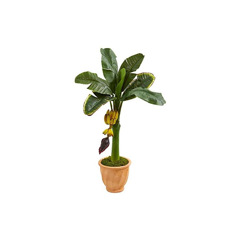 silk flower arrangements nearly natural banana artificial tree in terracotta planter, 3'