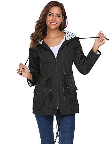 Beyove Damen Regenjacke Regenmantel mit Kapuze Tasche Funktionsjacke Regenparka Wasserdicht Atmungsaktiv(L (Herstellergröße: L), Schwarz)