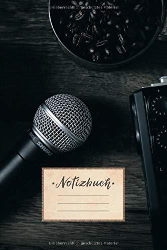 Notizbuch: liniert, 100 Seiten, DIN A5 Format, weißes Papier, glänzendes Softcover für hochwertiges Design | Notizheft - Tagebuch - Journal - Planer | ... Musik Musiker Sänger Band Kaffee Tongerät