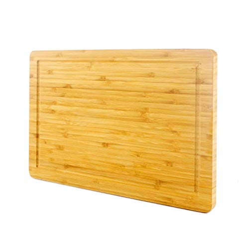 PURENJOY Bamboo Cutting Board with Juice Groove, Chopping Board for Kitchen, Heavy Duty Butcher Block for Meat, Fruit and Vegetables, BPA Free Carving-Serving Board (9.7x14.9, Original)