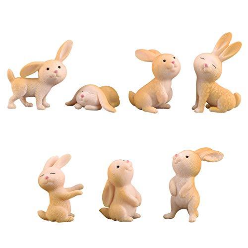 BRTTHYE 7 Pcs Mignon Lapin Jardin Ornement Mignon Miniature Figurine Fée Résine Synthétique Peint À La Main Animal Fée Jardin Décor