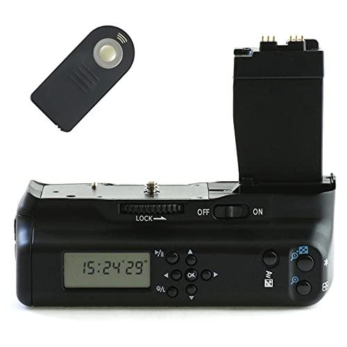 Empuñadura de batería Minadax con pantalla LCD-temporizador y disparador por infrarrojos para Canon EOS 650D, 600D y 550D - como la BG-E8