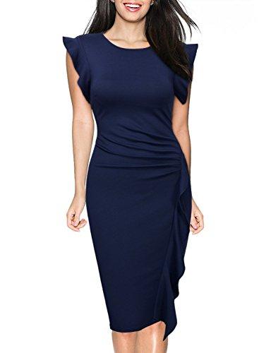 Miusol Women's Retro Ruffles Cap Sleeve Slim Business Pencil Cocktail Dress,Navy Blue,Small