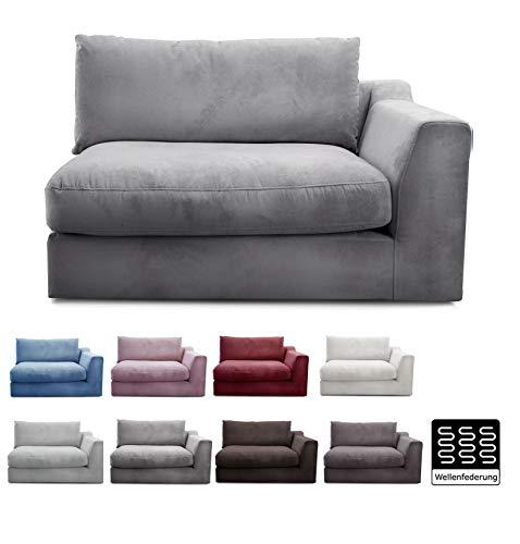 "CAVADORE Sofa-Modul \""Fiona\""mit Armteil rechts / individuell kombinierbar als Ecksofa, Big Sofa oder Wohnlandschaft / 138 x 90 x 112 / Webstoff silbergrau"