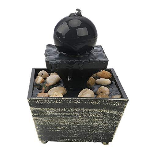 Fenteer Tabletop Brunnen mit Warme Lichter-Runde Ball Fällt Indoor Wasserfall Feature-Beruhigende und Entspannende Wasser Sound - B