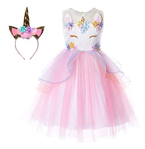 Le SSara Unicorno Costume Abito Spettacolo Partito Abiti da Sera Fiori Abito Abito Tutu (120, E34-pink)