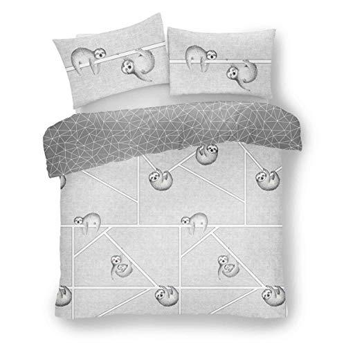 Lions Sloth Grey Duvet Quilt Cover & Pillow Case Set - Reversible - Easy Care, Double