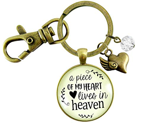 Gutsy Goodness Memorial Keychain A Piece Of My Heart Lives In Heaven Remembrance Jewelry Heart