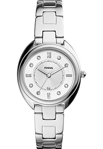 Fossil ES5069 - Reloj de pulsera para mujer (acero inoxidable, 5 bar, analógico, fecha, plateado)