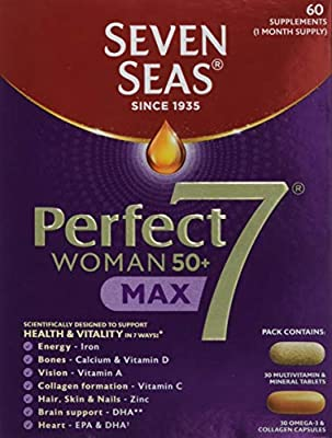 Seven Seas Perfect7 Prime Woman 50+,Multivitamin and Mineral Tablet plus Omega-3 & Collagen capsule, 30 day Duo Pack