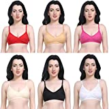 Magnet Bra for Women Combo Pack of 6/Bra Combo Pack of 6 Full Coverage Non-Padded Multicolor Everday Cotton Bra (32, Multicolored)