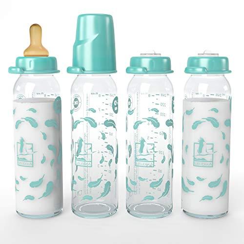 Juego de 4 botellas de cristal estándar Lelekka® con tetina redonda de látex, tamaño M, leche, desde el nacimiento, 240 ml, látex natural