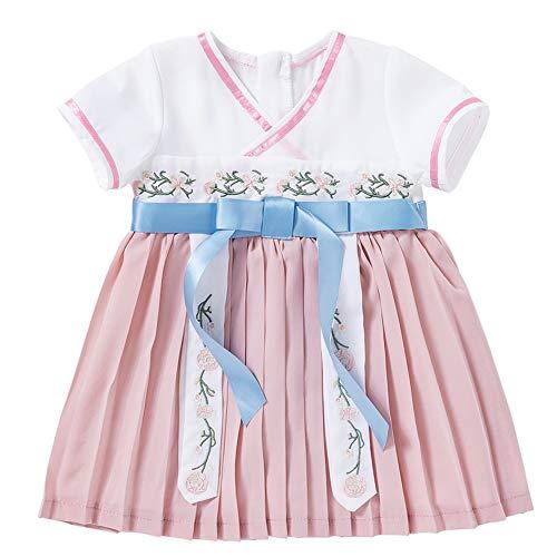 Baby-Chinese traditionele jurk voor kleine kinderen band bowtie hennepu rok korte mouw-zuuglingsjurk 100 roze