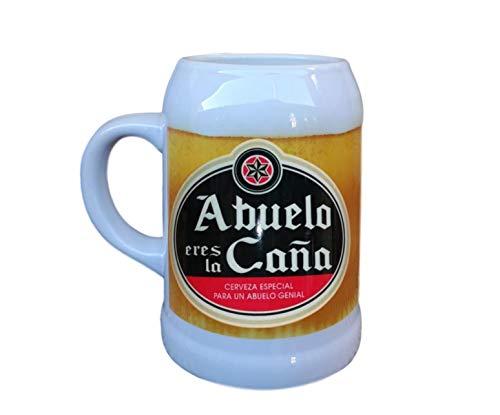HOGARMISORPRESA Jarra de cerámica Frase Abuelo Eres LA CAÑA, Cerveza Especial para un Abuelo Genial Regalo