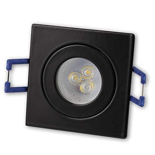 LED Einbaustrahler Schwarz - eckig 4W neutralweiß 230V GU11 – IP44 für Bad, Außenbereich Ø40mm Bohrloch – Badezimmer Terrasse Einbau-Spot Decken-Strahler Deckeneinbaustrahler Deckenspot