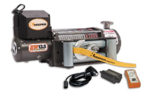 KEEPER KW13122-1 12V DC Heavy Duty Winch with Wireless Control - 13500 lbs. Load Capacity