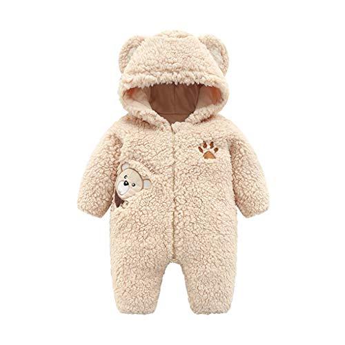 Plüsch-Overall Baby Unisex, 0-12 Monate Neugeborenes Jungen Mädchen Strampler Spielanzug Warme Jumpsuit mit Kapuzen und Zipper, Winter Säugling Spielanzug Schlafanzug Outfit (0-3 Monate, Beige)