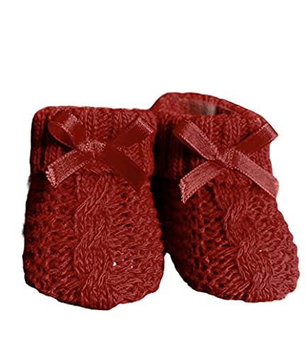 Dor Babysocken für Mädchen, 0-12 Monate, geflochten, in Geschenkbox, Socken mit Schleife für Neugeborene & Kleinkinder, Rot 12 Monate
