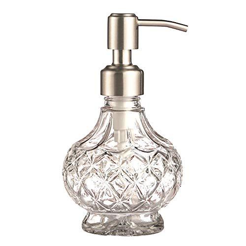 YunNasi Dosatore Sapone Liquido Vetro Dispenser Sapone Realizzato in Vetro e Acciaio Inossidabile per Detersivo per Piatti, Lozione Shampoo, Controsoffitto Bagno, Cucina, Lavanderia (Style 1)