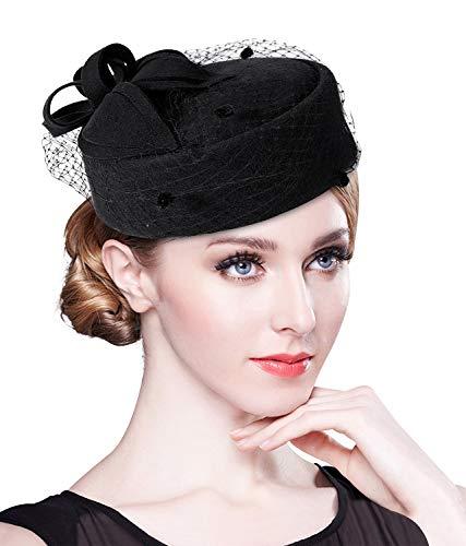 Z&X - Cappello da donna in feltro di lana, stile vintage, con velo e fiore - Nero - Taglia unica