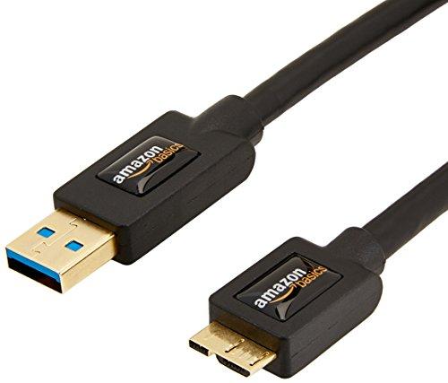 Amazon Basics - Cable de USB 3.0 A macho a micro USB B con conectores dorados (0.9 m)