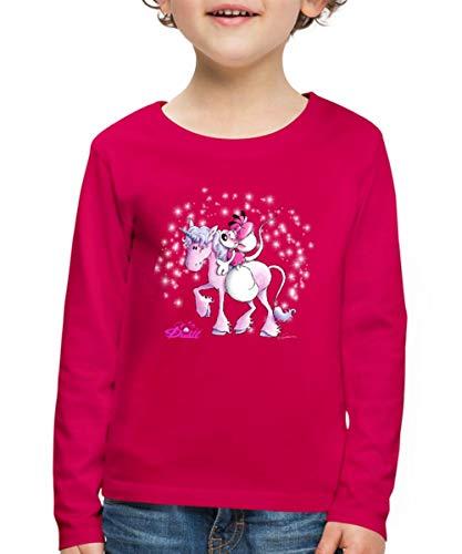 Diddl Diddlina Reitet Auf Einhorn Lalunaly Kinder Premium Langarmshirt, 110/116 (4 Jahre), Dunkles Pink