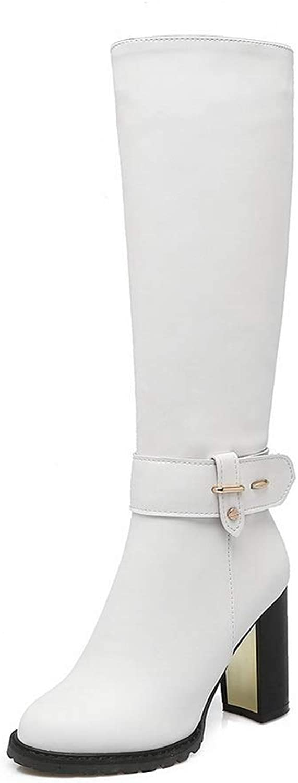 AdeeSu Womens Chunky Heels Zipper Urethane Boots SXC03452