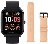 "Relógio inteligente Amazfit Bip U Pro, SpO2, GPS, 1,43"" Visor colorido (preto) + alça adicional (rosa pastel)"
